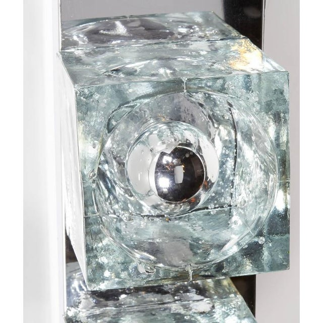 Metal Mid-Century Modern Wall Light with Cubist Design by Gaetano Sciolari For Sale - Image 7 of 11