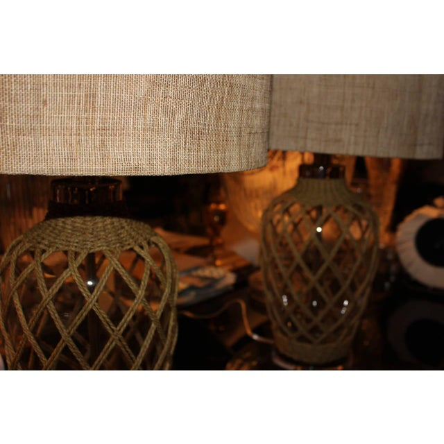 Contemporary Coastal Rope Net Wrapped Glass Vase Lamps - Pair For Sale - Image 3 of 3