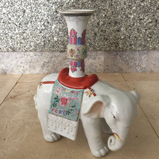 Early 20th Century Early 20th Century Chinese Export Famille Verte and Blanc De Chine Elephant Joss Stick For Sale - Image 5 of 13
