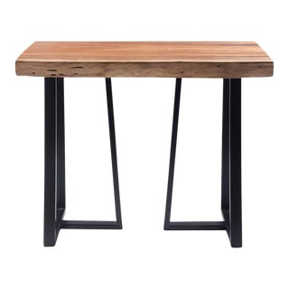 """Industrial Live Edge Acacia Wood Console With Metal Legs - 40"""" For Sale"""