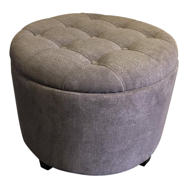 Gray Tufted Storage Ottoman - Image 1 of 9
