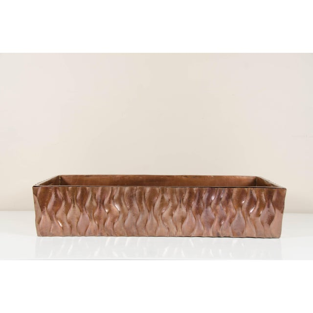 Metal Ola Design Planter with Removable Liner by Robert Kuo, Hand Repoussé, Limited Edition For Sale - Image 7 of 7