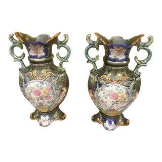 Vintage Majolica Handled Rose Vases - a Pair For Sale