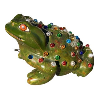 Mid-Century Jeweled Ceramic Frog Lamp For Sale