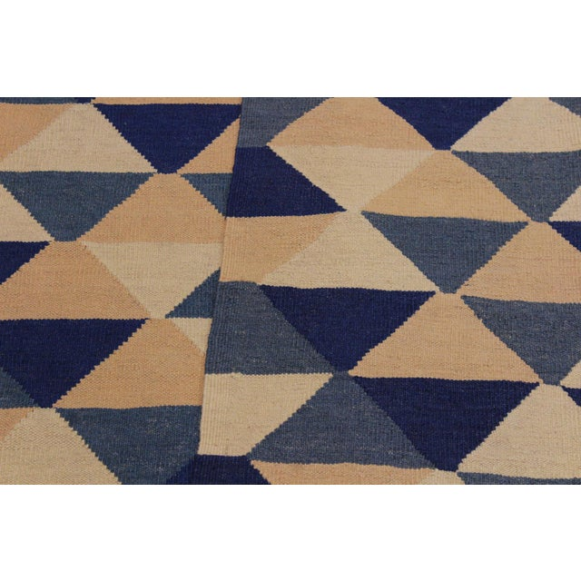 Textile Retro Kilim Blue Hand-Woven Wool Rug - 6′4″ × 8′9″ For Sale - Image 7 of 8