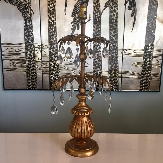 Hollywood Regency Gilded Palm Lamp With Crystals For Sale - Image 11 of 11