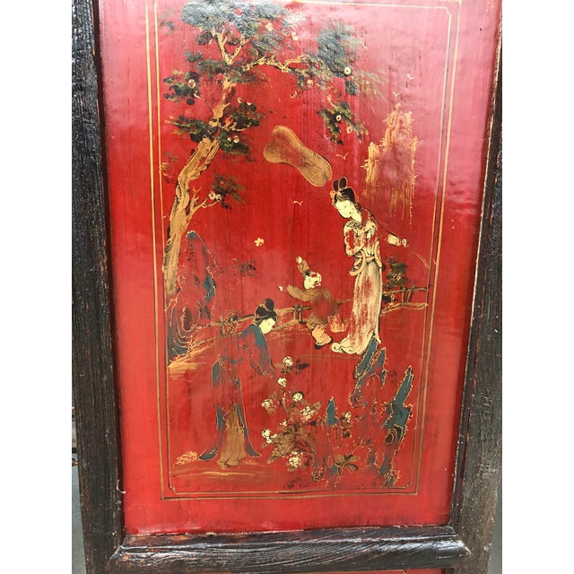 Lacquer Qing Dynasty Chinese Lacquer Painted Folding Exterior Doors - Set of 4 For Sale - Image 7 of 11