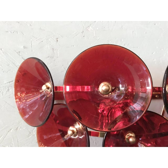 Mid 20th Century Vintage Red Trumpets Sconces by Fabio Ltd For Sale - Image 10 of 12
