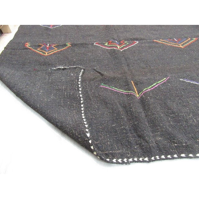 1960s Embroidered Dark Brown Goat Hair Kilim Rug - 11′7″ × 12′6″ For Sale - Image 5 of 6