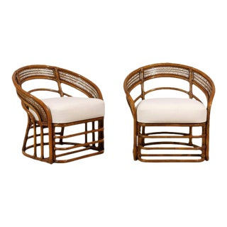 Fabulous Pair of Restored Rattan Chairs by Brown Jordan- Four Available For Sale
