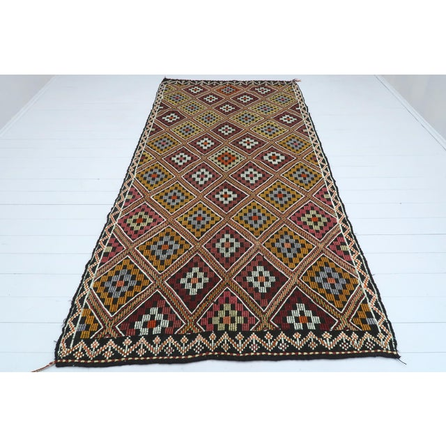 Beautiful vintage turkish kilim made pure handspun wool and dyed naturally . Beautiful pastel colors. this vintage Cicim...