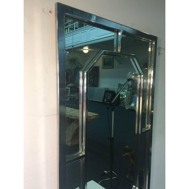Modern Modern Chrome Rectangular Mirror With Octagonal Center For Sale - Image 3 of 9