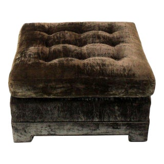 1970s Vintage Square Deep Bronze Velvet Upholstery Ottoman Footstool For Sale