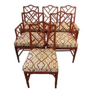 1970s Vintage Chinese Chippendale Dining Chairs- Set of 6 For Sale