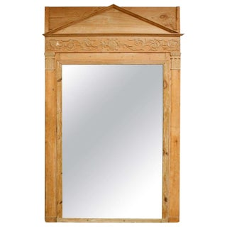 19th Century Neoclassical Tan Pine Mirror For Sale