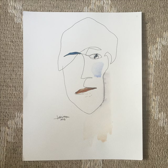 Abstract Face Watercolor Painting - Image 2 of 8