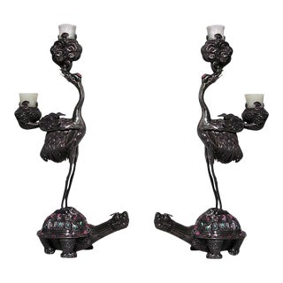 Pair of Asian Chinese Style Silver 2 Arm Candelabra of Heron