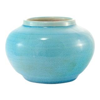 1940s Boho Chic Turquoise Crackle Glaze Pottery Vase