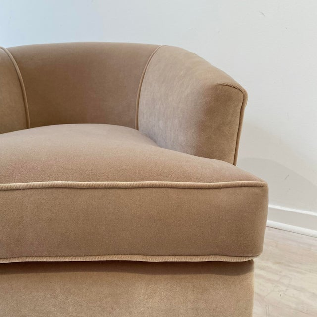 Mid-Century Modern Vintage Swivel Chairs in Camel Velvet - a Pair For Sale - Image 3 of 6