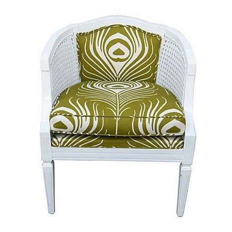 Cane Chair with Green Plume Upholstery - Image 1 of 3