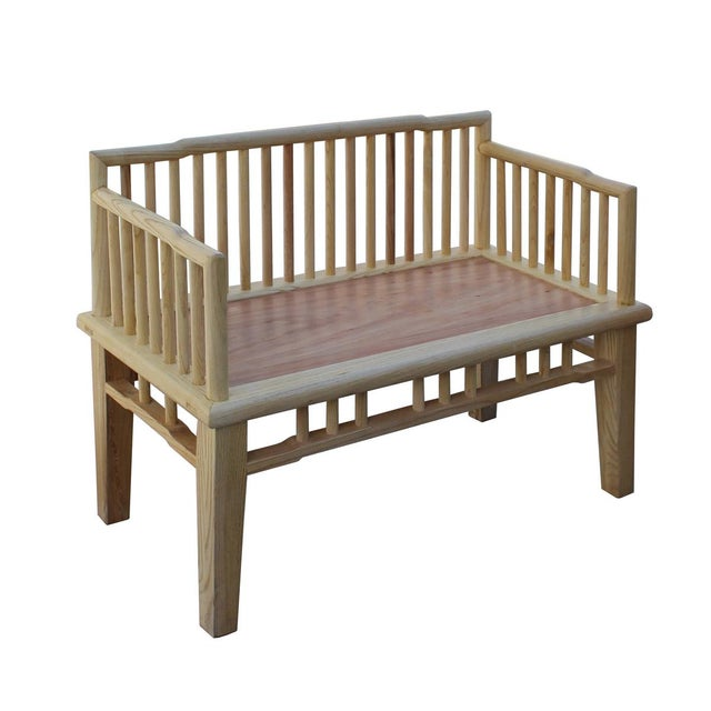 Zen Unfinished Wood Double Seat Bench - Image 3 of 6