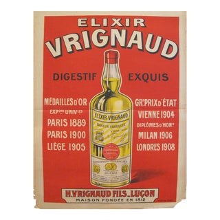 1920s Original Art Deco Advertising Poster, Elixir Vrignaud For Sale