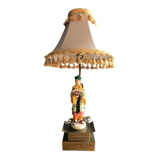 1920s Chinoiserie Porcelain Table Lamp With Brass Pedestal Tasseled Shade For Sale