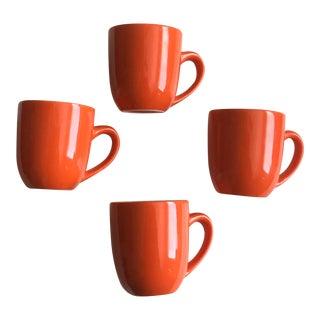 Mid Century Modern Orange Coffee / Tea Mugs - Set of 4