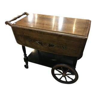 Vintage Floral Wooden Trolley Bar Cart