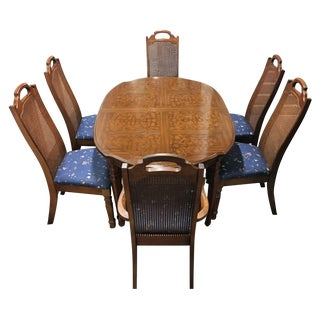 Vintage Solid Wood Dining Set with 6 Cane Chairs
