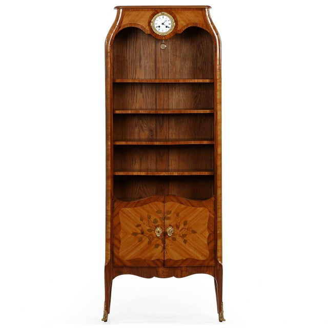 French Louis XV Style Marquetry Inlaid Bibliotheque Bookcase, Circa 1900 For Sale