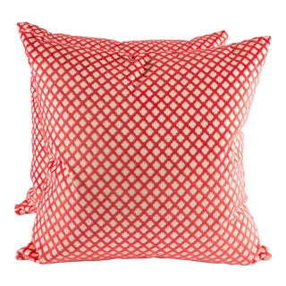 """22"""" X 22"""" Velvet Scalamandre Pomfret Down Pillows For Sale"""