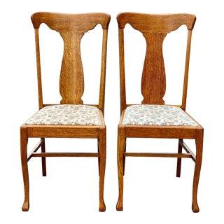 Antique Farmhouse Quartersawn Oak T Back Dining Chairs - a Pair For Sale