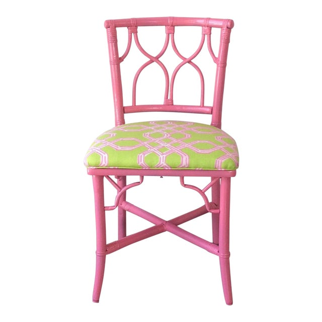 Vintage Ficks Reed Pink Bamboo Rattan Side Chair For Sale