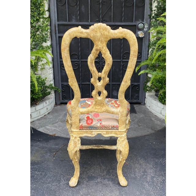 Pair of Antique Venetian Side Chairs W Scalamandre Silk Lampas For Sale - Image 4 of 6