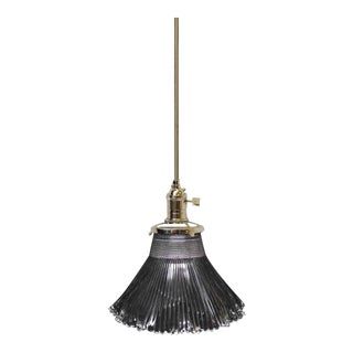 Antique Small Holophane Pendant Light For Sale