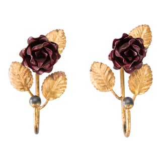 French Gilded Tole Red Flowers Wall Hooks, a Pair For Sale