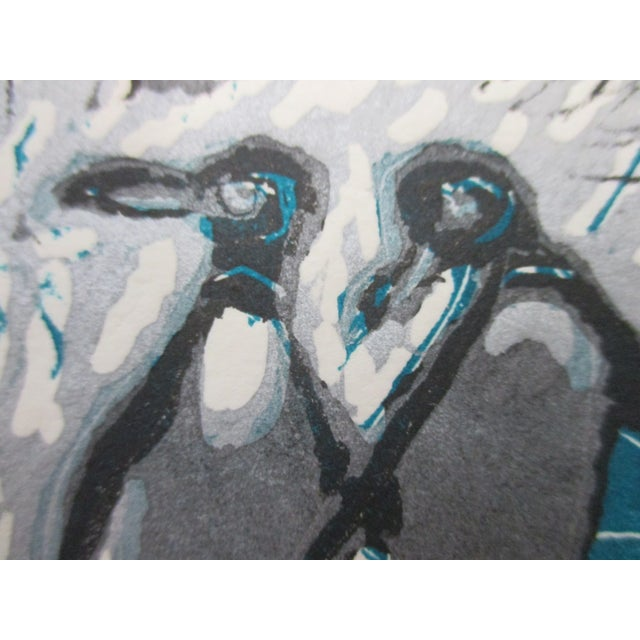 Early 21st Century Vintage Lithograph Titled: Galapagos Penguins Signed by the Artist: Ann Zahn For Sale - Image 5 of 6
