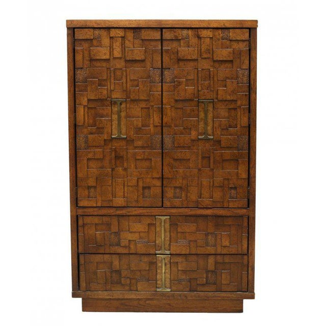 Lane Furniture Brutalist style wood mosaic chest of drawers or bachelor's chest, circa 1970. The front finished in a wood...