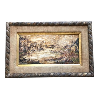 Vintage Abstract Impasto Painting in Frame
