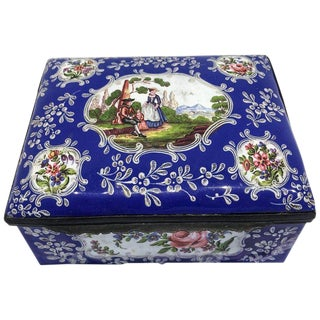 Late 19th Century Battersea Enamel Hinged Box by Samson For Sale