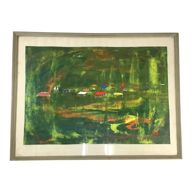 Late 20th Century Abstract Landscape Painting, Framed For Sale