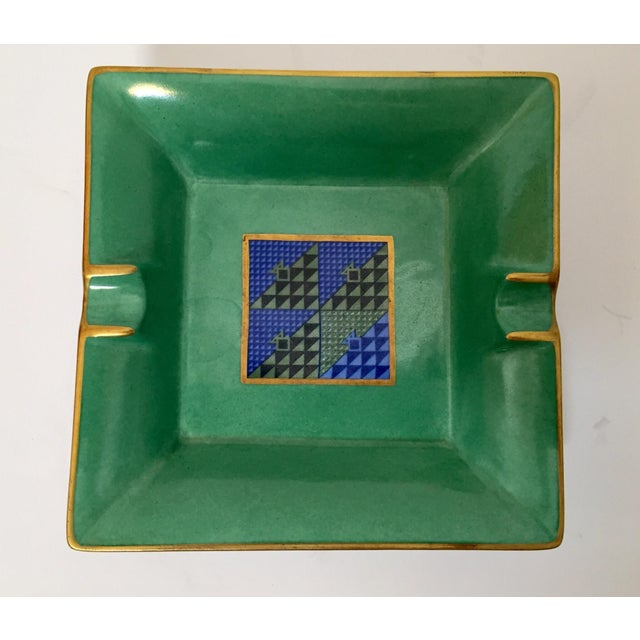 Abstract Limoges, France Modern Porcelain Square Green and Gold Ashtray For Sale - Image 3 of 12