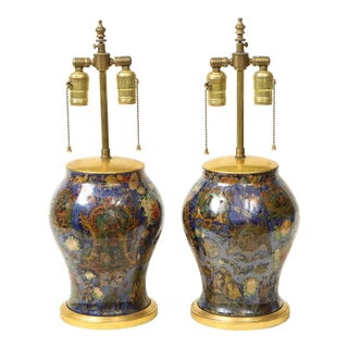 Mid 19th Century Victorian Cobalt Blue Decalcomania Lamps - a Pair For Sale