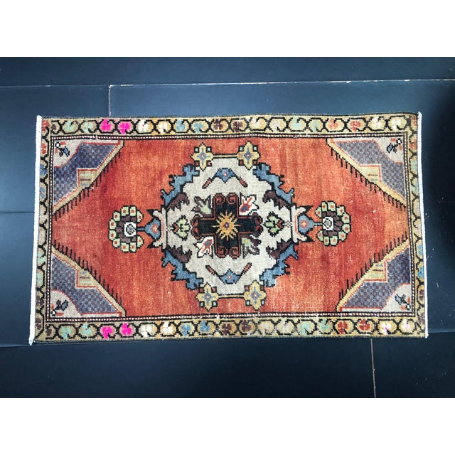 Vintage Boho Turkish Anatolian Handmade Multicolor Small Rug For Sale In Phoenix - Image 6 of 6