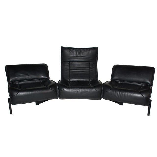 "The sleek modern three seater sofa ""Veranda"" by Vico Magistretti for Cassina circa 1980's. Adjustable folding upper back..."