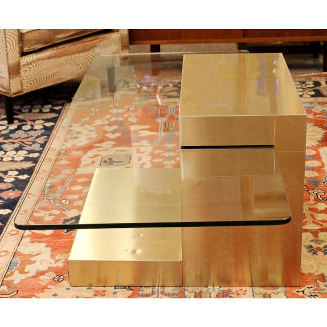 1960s Mid-Century Modern Paul Evans Cantilever Brass Glass Cityscape Coffee Table For Sale - Image 5 of 12