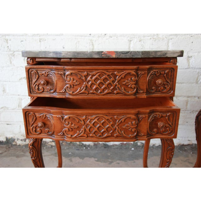 Carved Louis XV Style Marble Top Nightstands - A Pair For Sale - Image 10 of 10