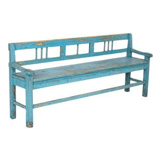 Antique Original Blue Painted Pine 6' Bench For Sale