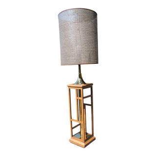 Mid Century Tall Wood Brass Table Lamp Open Weave Drum Shade For Sale